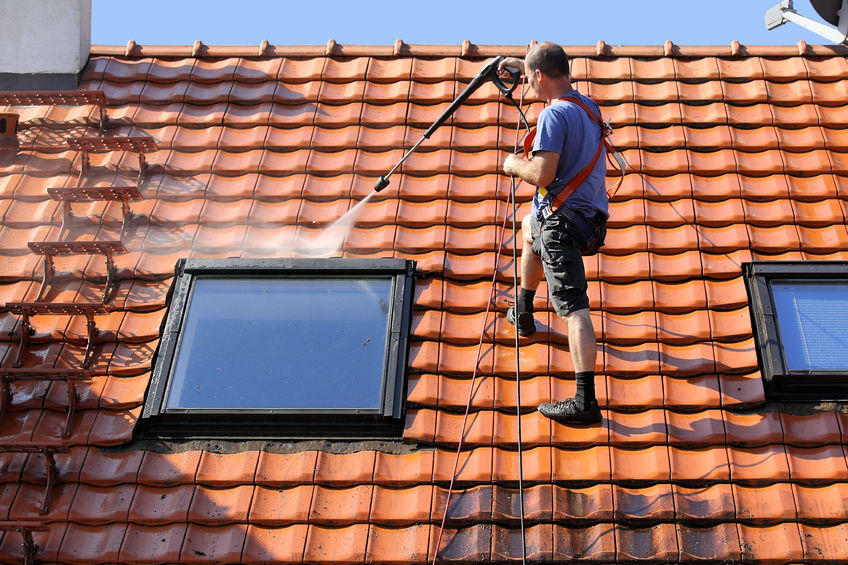 Blackwood Pressure Washing Man Cleaning Roof